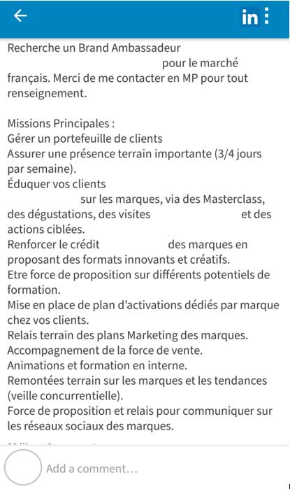 Exemple de recrutement d'ambassadeurs de marque sur LinkedIn.