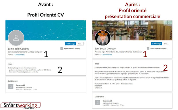 le profil linkedin de sam se transforme